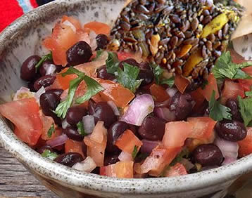 Salsa with Flax and Chia Seed Crackers